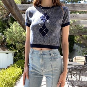 Vintage cropped school girl sweater T shirt